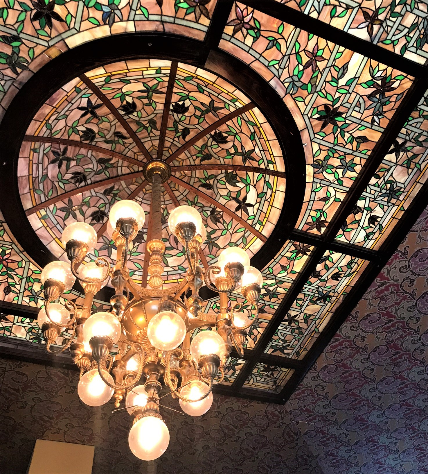 stained glass ceiling and lighting fixture
