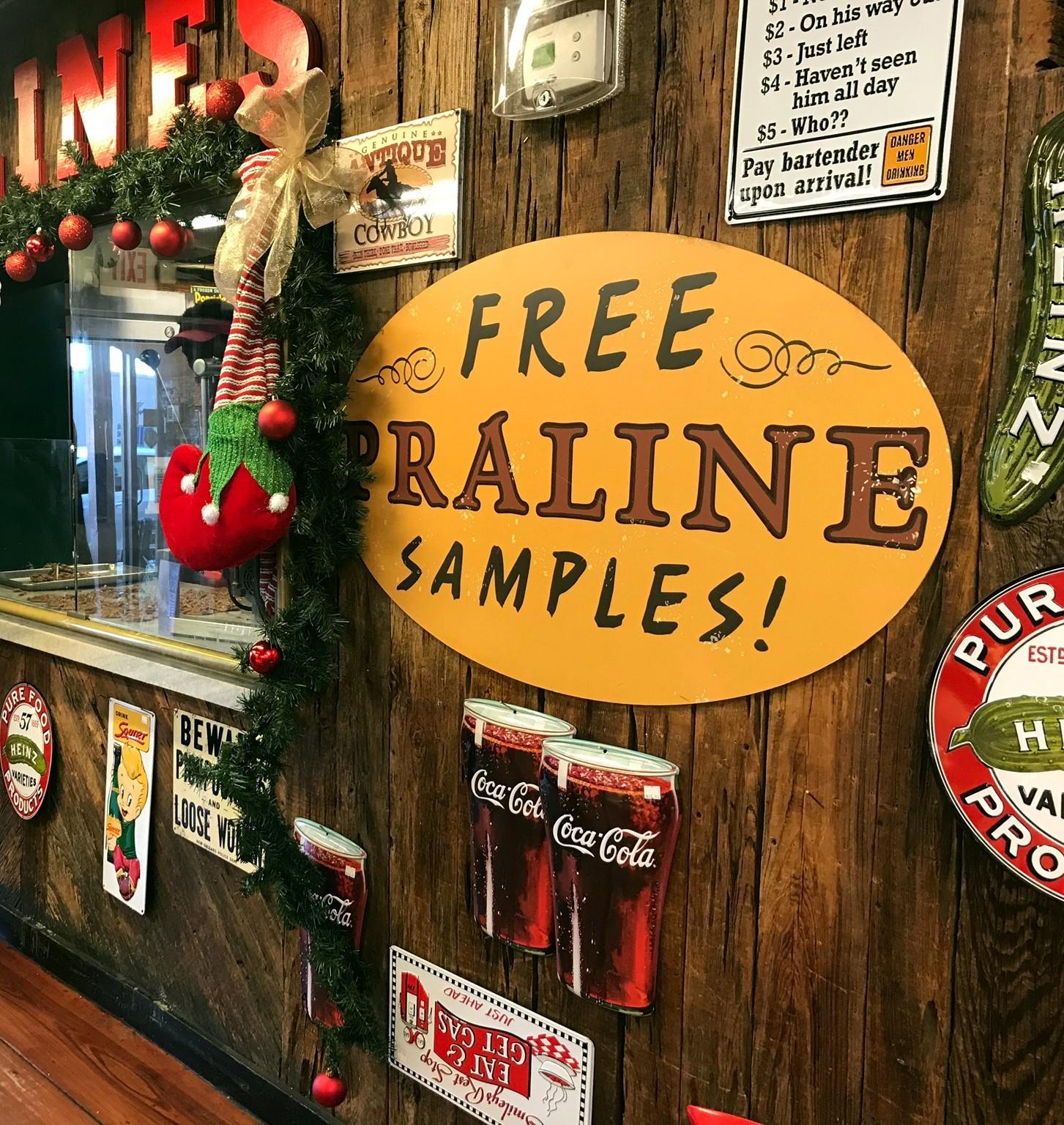 sign for free praline samples at savannah candy kitchen