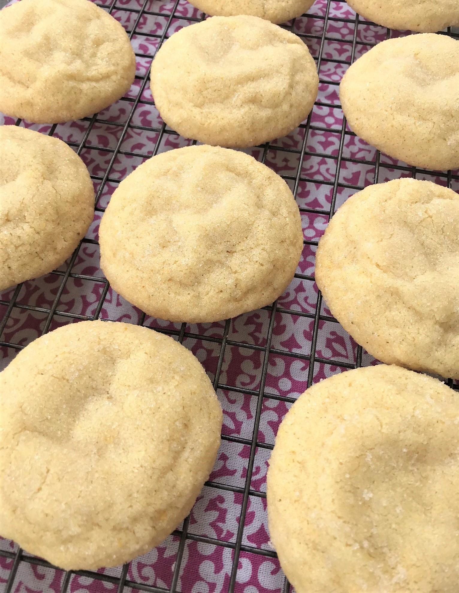 soft sugar cookies on a rack