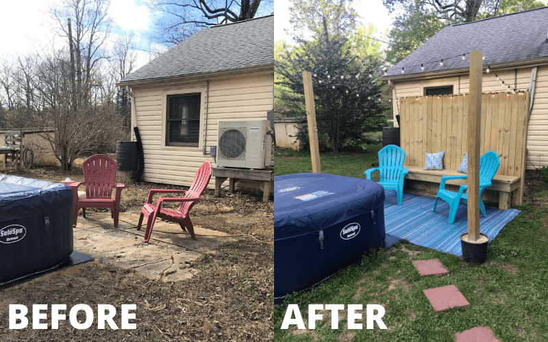 Backyard before and after side by side photos