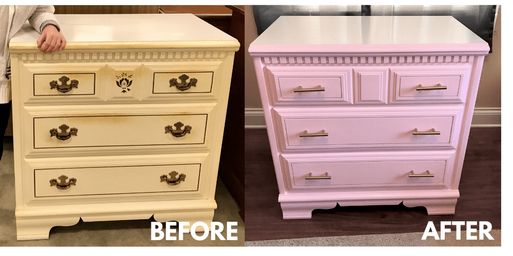 chest of drawers makeover, before and after photos