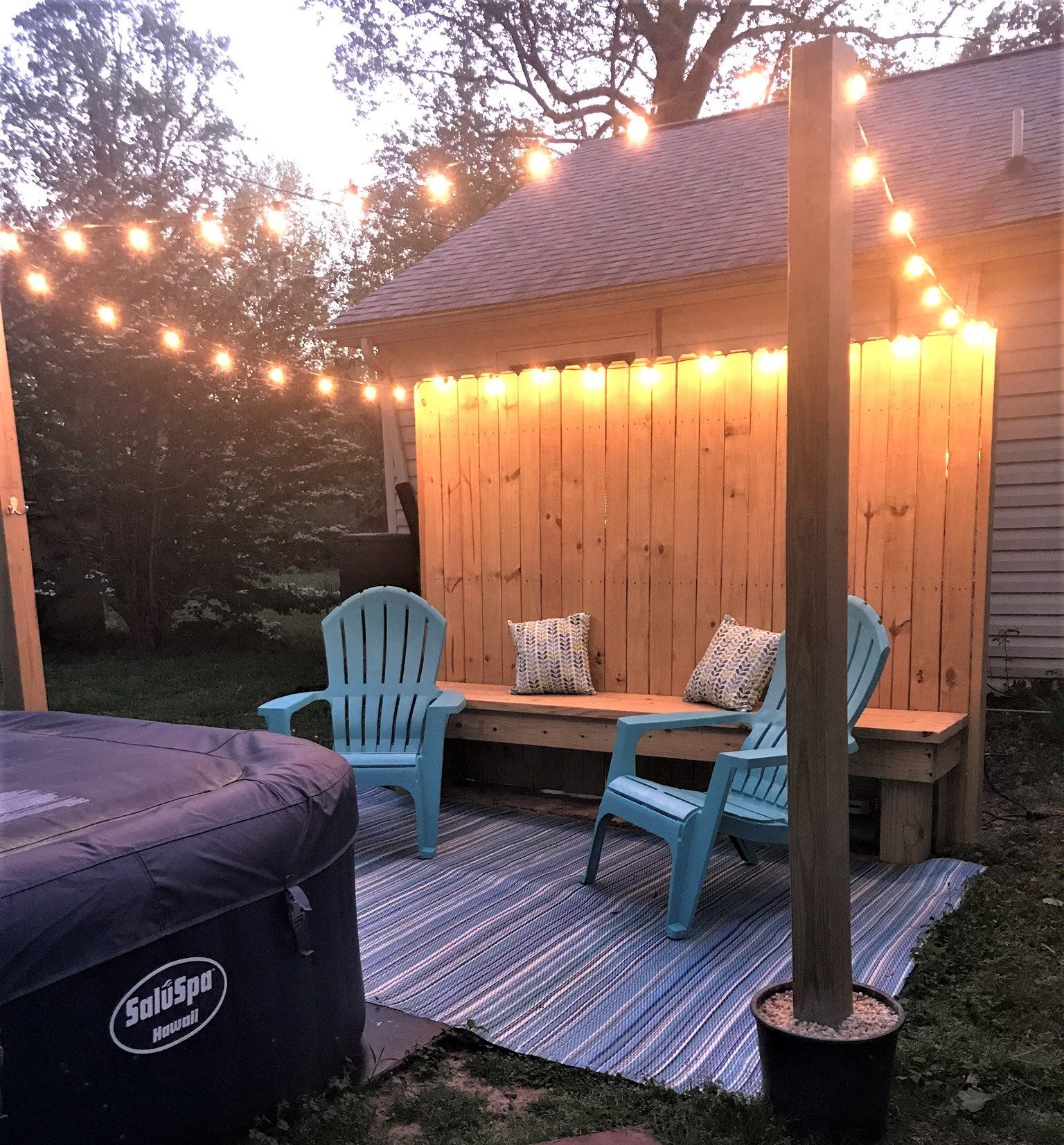 backyard ideas on a budget string lights