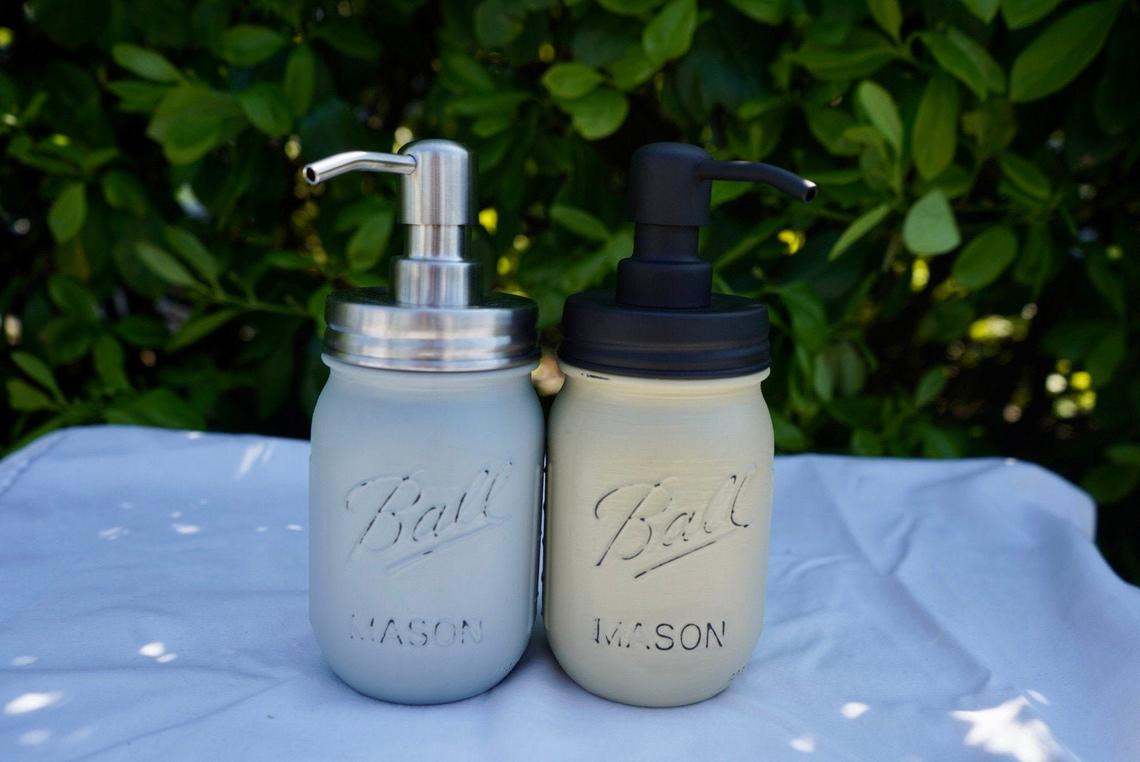 DIY Soap dispensers with distressed finish
