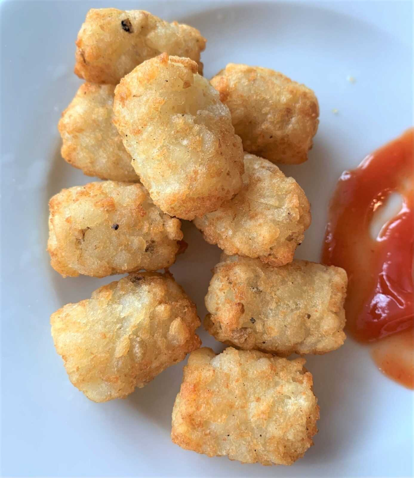 crispy golden air fried tater tots on a plate with ketchup