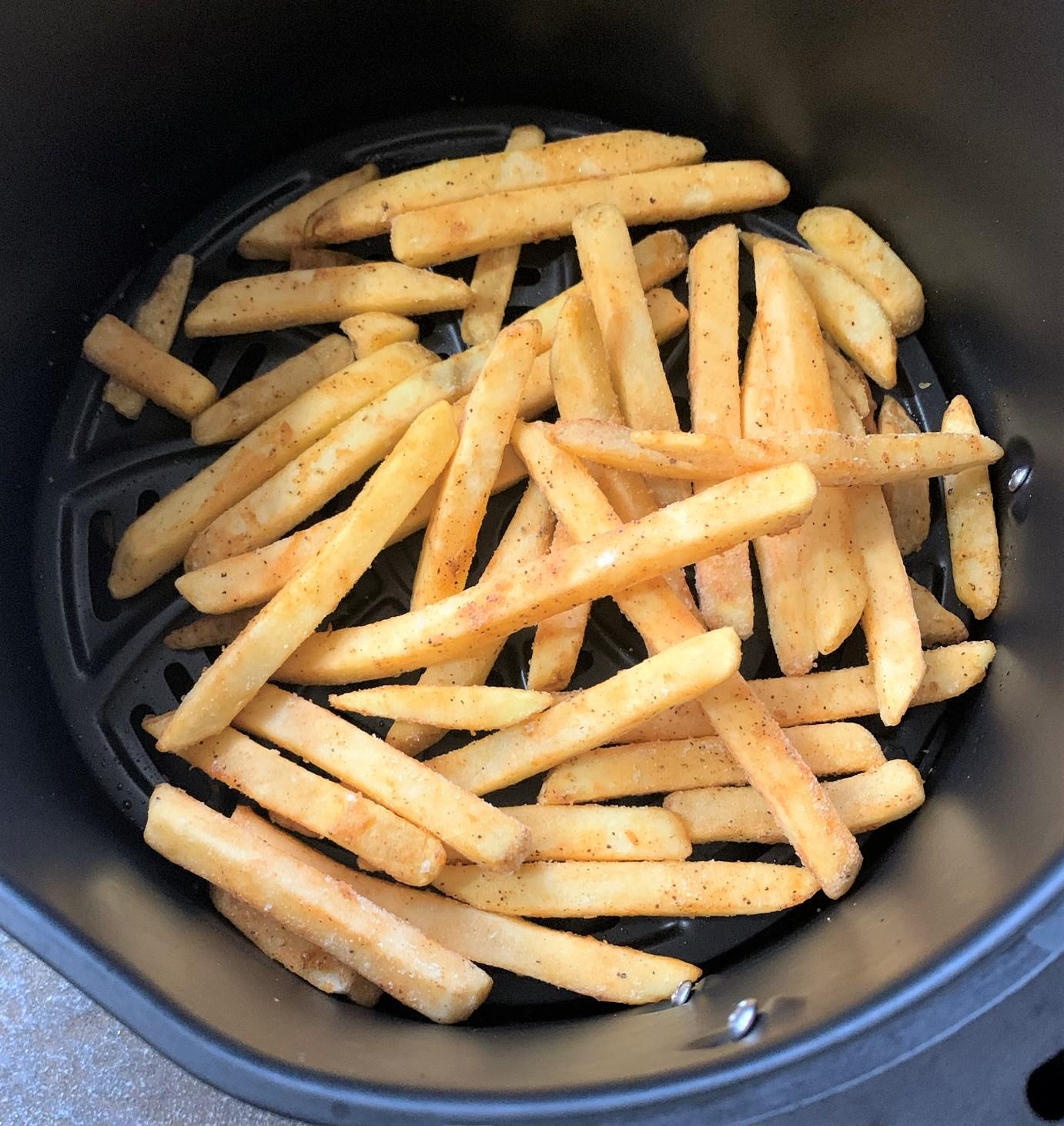 frozen fries in an air fryer basket