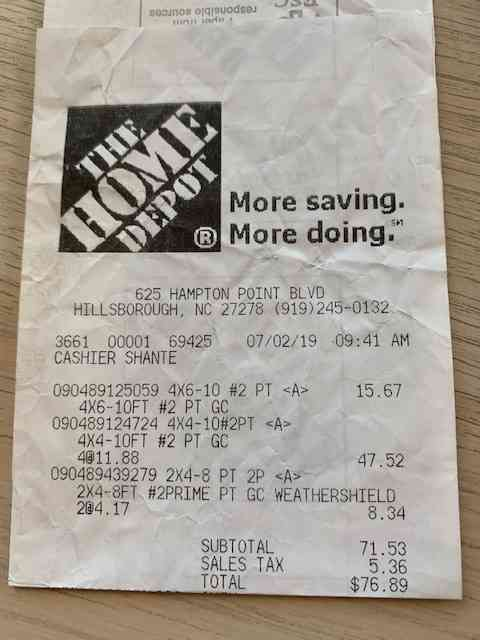 receipt with cost of lumber