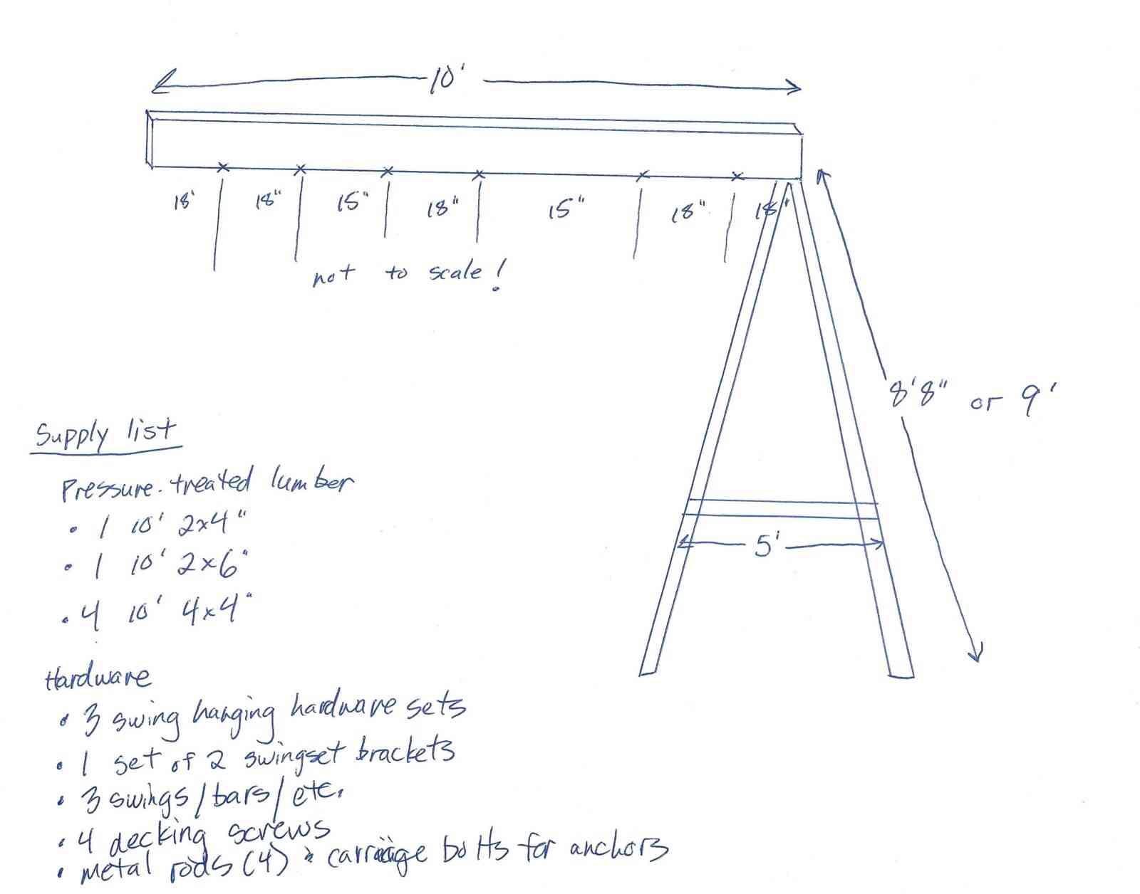 free DIY wooden swing set plans hand drawn