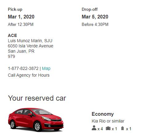 rental car reservation